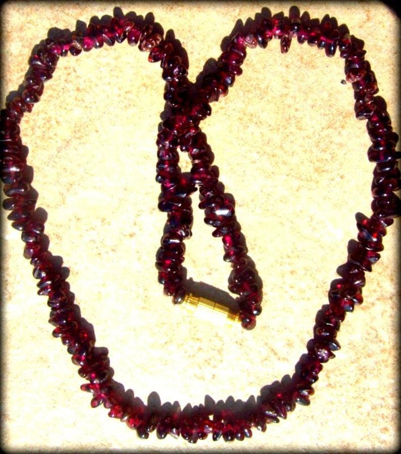 love stone tribal gemstone necklace boho stone crystal necklace GORGEOUS GARNET Necklace
