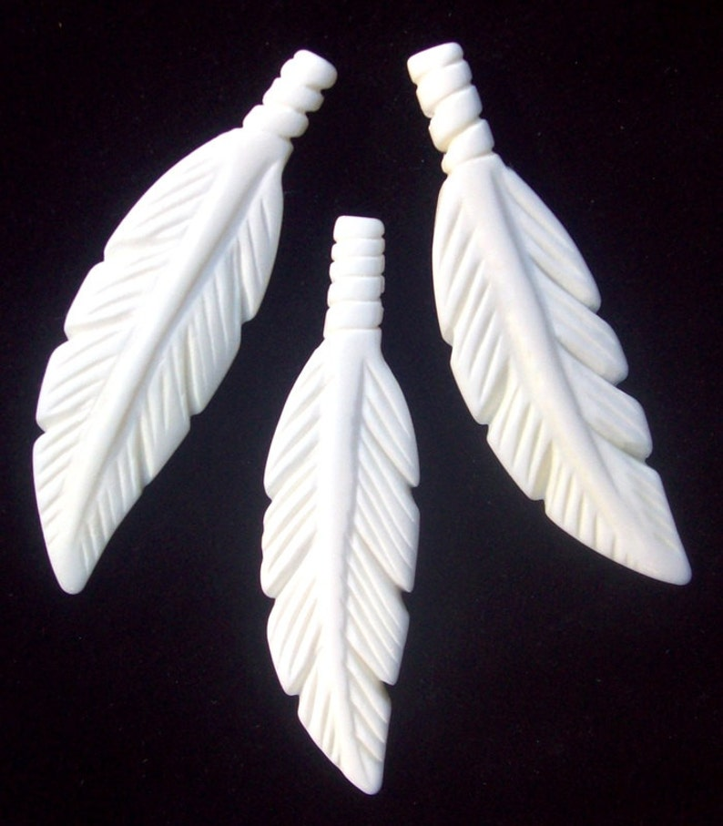 White Carved 2 5 Carved Feather Bone Feather Feather Pendant 2 5 Elk Bone Feather Pendant White Bone