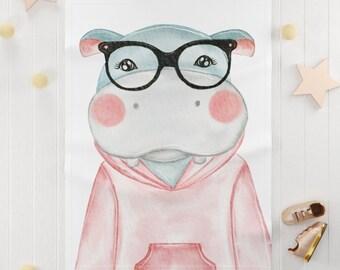 Cute hippo Soft Fleece Blanket / adorable watercolor hippopotamus baby fleece blanket / nursery cute animal baby fleece blanket