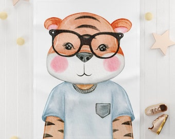 Cute watercolor Tiger Soft Fleece Blanket / watercolor tiger baby blanket / baby tiger fleece blanket