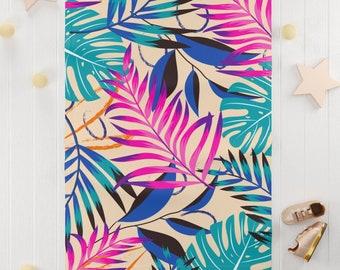 Pink blue fern leaves Soft Fleece Blanket / jungle leaves baby shower gifts / jungle baby fleece blanket
