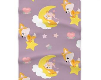 Cute fox Soft Fleece Blanket / Sleeping fox baby fleece blanket / Baby shower fleece blanket