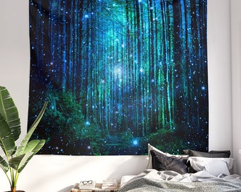 magical Forest Tapestry, magical woods wall hanging, large dorm nature wall decor, wanderlust bedroom and living room decor.