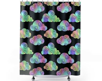 Modern colorful clouds Shower Curtains / clouds shower curtain / clouds bathroom decor / modern shower curtain/ unique clouds shower curtain