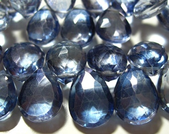 Beautiful AAA Iolite Blue Mystic QUARTZ Faceted Pear Briolettes - 10 Beads