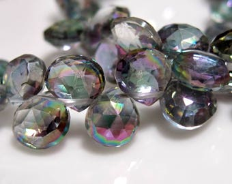 10 Beads Set - Beautiful AAA MYSTIC TOPAZ  Faceted Heart Briolettes