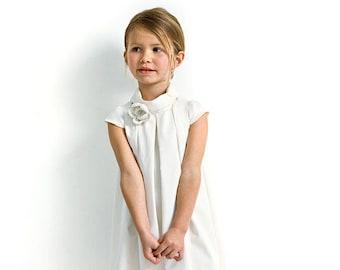 White flower girl dress with short sleeves for wedding in organic cotton sateen. Custom wedding dress.