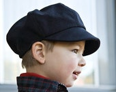 Newsboy cap for kids in organic cotton. Wedding hat for children. Select your color blue, black red, yellow, green, brown, cream.