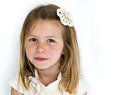 Flower girl hair clip in white or ivory organic cotton. Crochet flower in organic cotton.