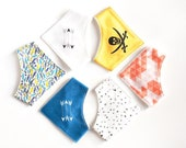 6 bib kit from organic cotton for boys. Set of organic fabric for 6 DIY bandana bibs. DIY baby shower gift.