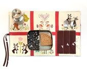 Snack placemat with cutlery pocket for lunchbox. Eco friendly child. Placemat with rabbit and deer.