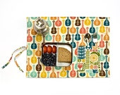 Groovy girl placemat with ukulele, guitars and VW vans. Organic place mat 70s for her in orange, blue and yellow.