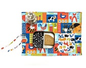 Colorful placemat for kids with cutlery pocket. Organic place mat with farm animals.