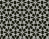 Flower fabric in black and white. Fleur de noir organic fabric. Certified organic Cotton by 1/2 meter or yard.