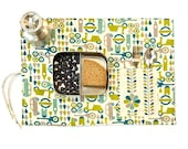 Green placemat. Organic cotton place mat. Child birthday gift in green with car and scooter.