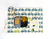 Student gift, bike organic placemat in blue, child place mat for lunchbox.