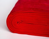 Red velour fabric in organic cotton. Solid red velvet fabric by 1/2 the meter (50 cm).
