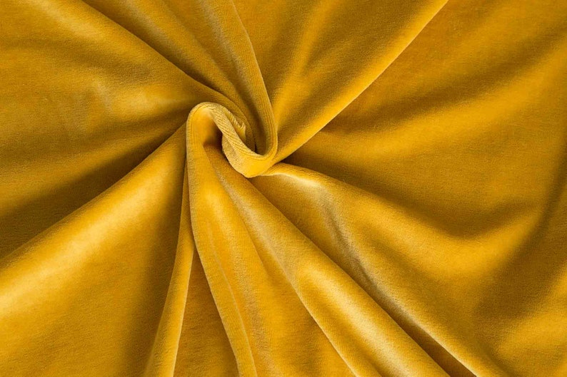 Yellow curry velour fabric in organic cotton. Honey gold image 0