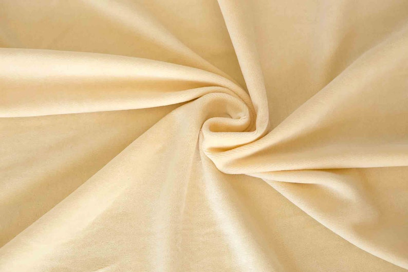 Cream velour fabric in organic cotton. Natural organic fabric image 0