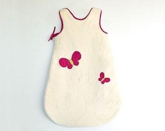 Gigoteuse bio papillon roses, Turbulette pour bébé et petite fille, 100% coton biologique certifié
