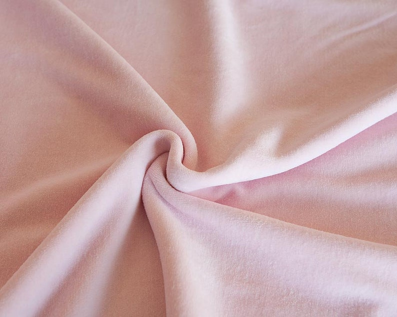 Blush pink velour in organic cotton. Solid pink fabric by half image 0