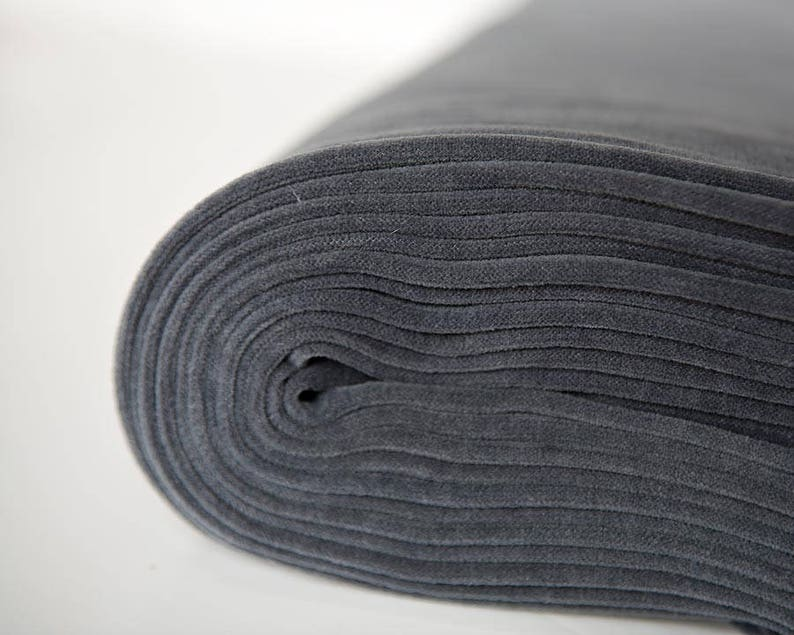 Grey velour fabric in organic cotton. Dark grey solid grey image 0