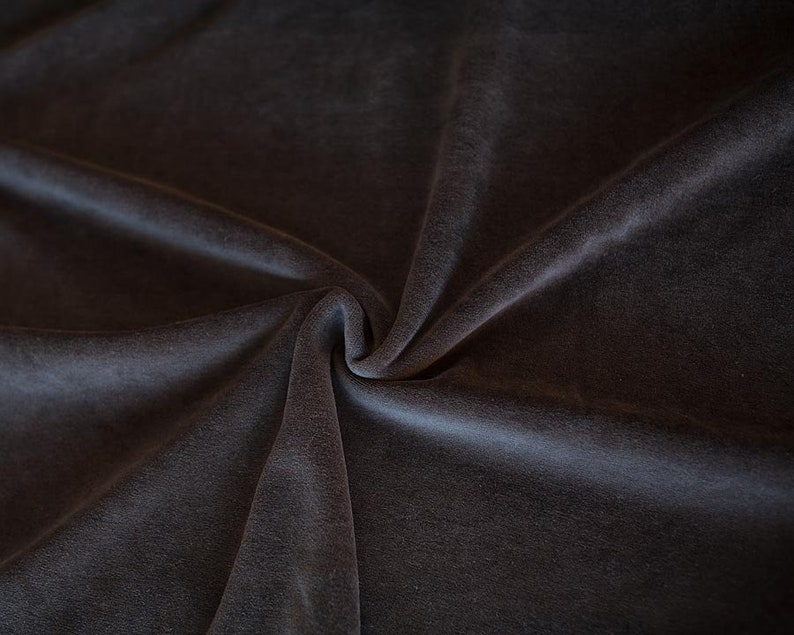 Black organic cotton velour fabric. Solid black fabric by 1/2 image 0