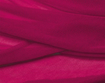 Raspberry pink organic cotton tulle. Red pink cotton tulle by the 1/2 meter (50 cm).