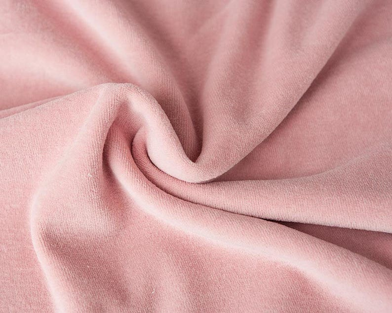 Pink velour fabric in organic cotton. Light pink solid pink image 0