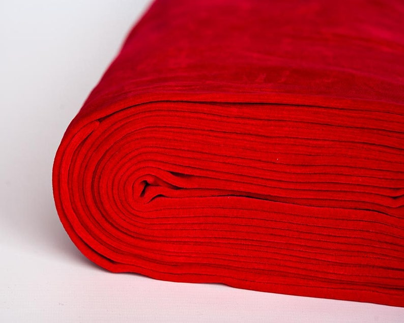 Red velour fabric in organic cotton. Solid red velvet fabric image 0