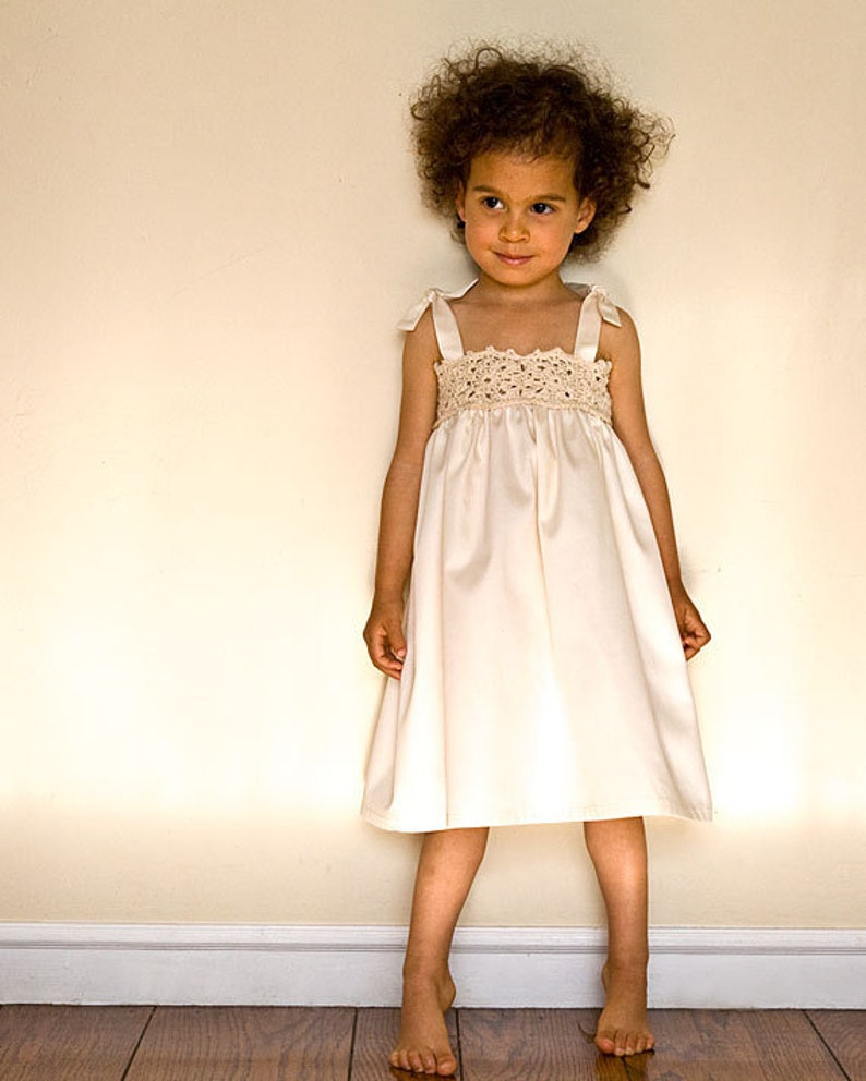 Lace flower girl dress in white or ivory for beach wedding. image 0