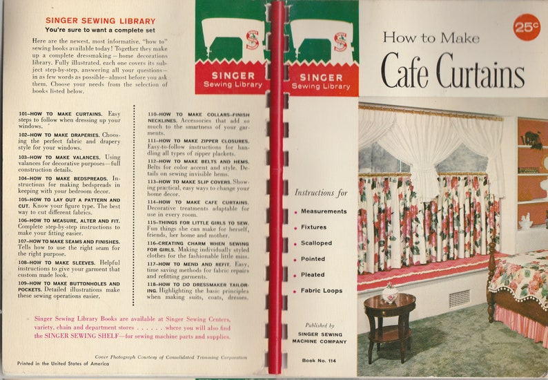 114 Singer How to Make Cafe Curtains Book No