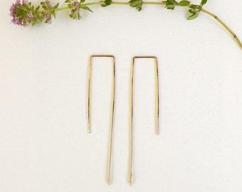 Delicate Minimal Geometric Rectangle Hoops/ thin gold dainty ear slides/ rustic simple boho hoops/ geometric gold hoops/ threader earrings
