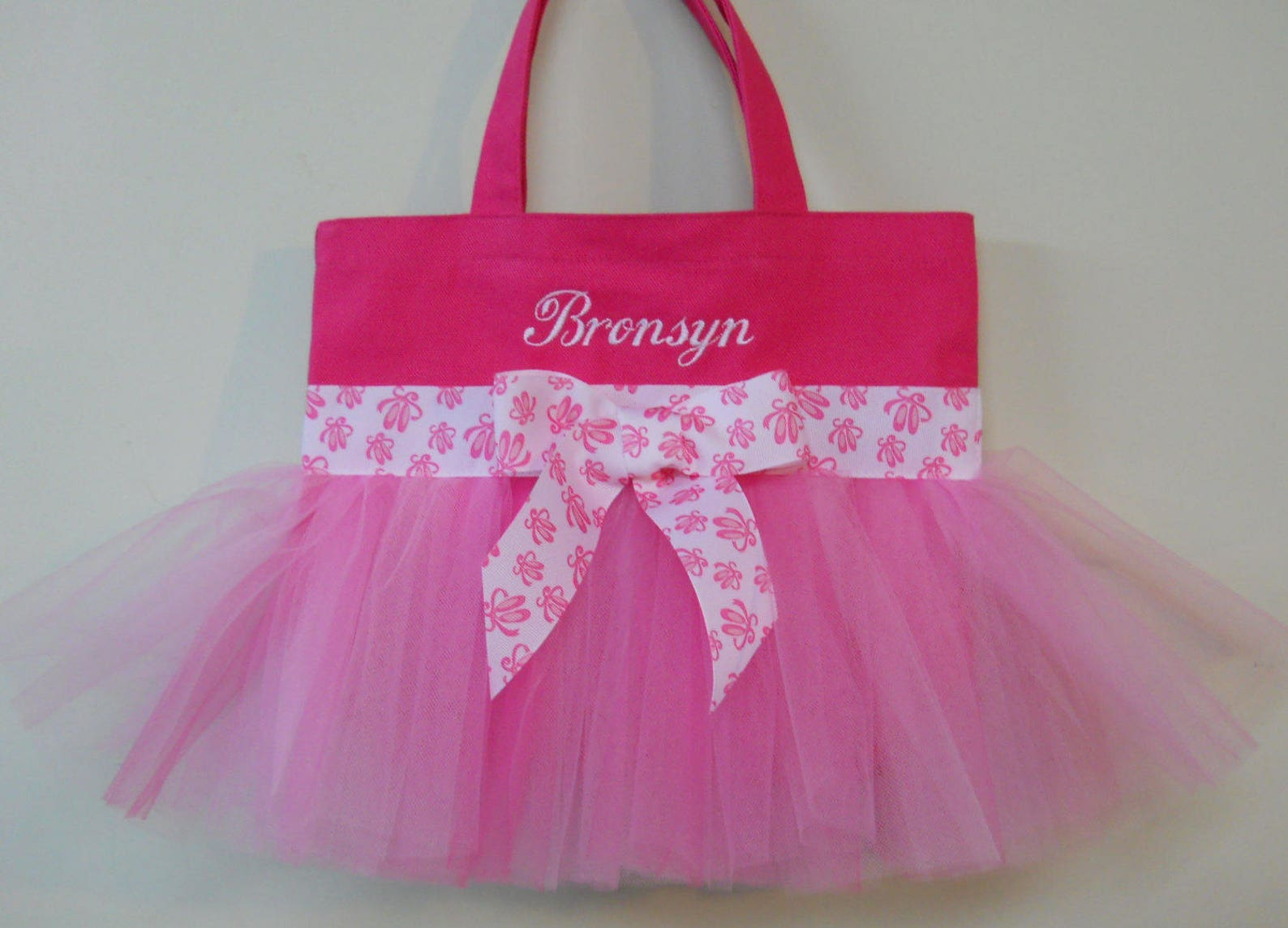 embroidered dance bag, naptime 21, princess tote bag, hot pink tote bag with pink tulle & ballet shoe ribbon mini tutu ballet ba