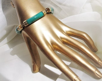 Vintage Bracelet Fused Green Glass 60s 70s Vintage Jewelry Free Shipping in US
