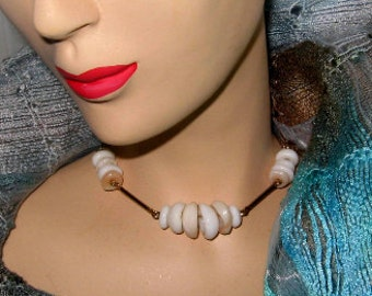 Sarah Coventry Necklace Vintage Signed 70s Jewelry Faux Puka Beads