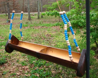 Hanging Beaded Bamboo Bird Feeder from reclaimed, repurposed, recylced, and reused materials