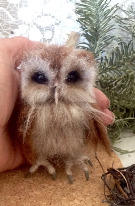 Made to order -Baby Tawny Needle  Felted Owl OOAK handmade whimsical wildlife fantasy  sculpture ornament  Bird figurine