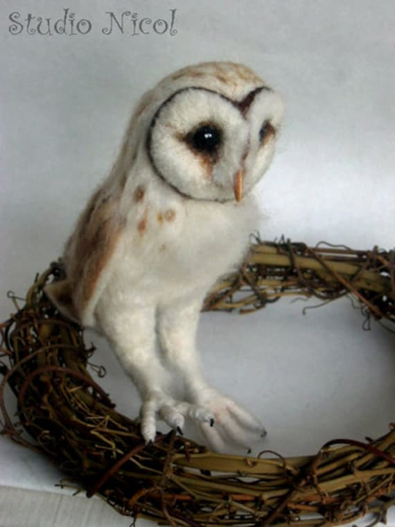 Made to order -Needle Felted Barn Owl OOAK handmade realistic wildlife fantasy fauxidermy sculpture ornament  Bird Collectable