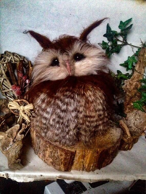 Sale-Needle Owl OOAK handmade whimsical wildlife fantasy  sculpture ornament  Bird figurine
