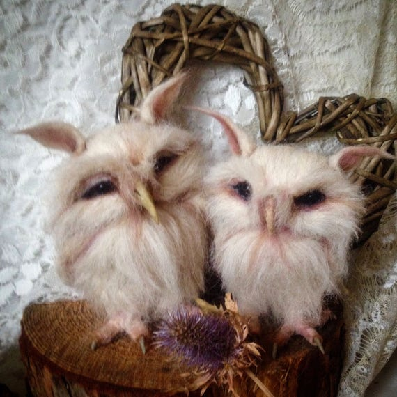 Needle Felted White Owl Couple OOAK handmade whimsical wildlife fantasy  sculpture ornament  Bird figuriney
