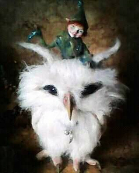 Sale-Needle Felted White Owl with Elf friend  OOAK handmade whimsical wildlife fantasy  sculpture ornament  Bird figurine