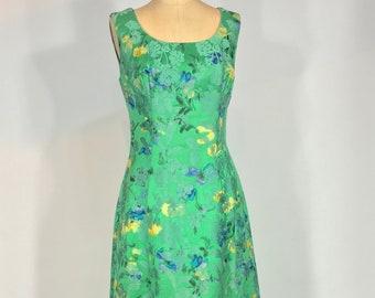 Vintage 1950s - 60s Henri Bendel Green silk floral brocade maxi dress & custom Artbag purse set