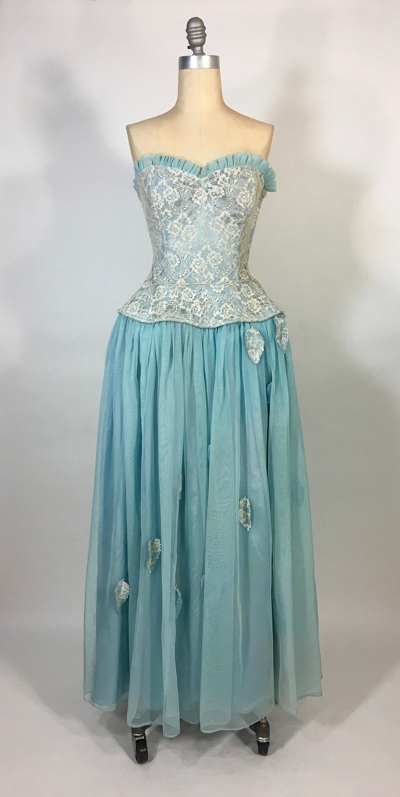 lace ruffle sweetheart bust formal prom dress Vintage 1950/'s Sky Blue BEST /& CO