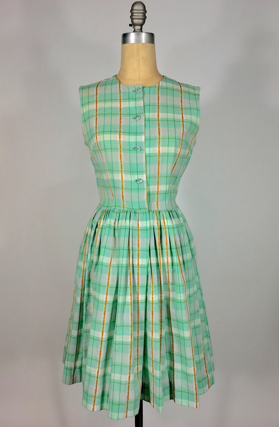 Vintage early 60's 1960s spring green pastel plaid