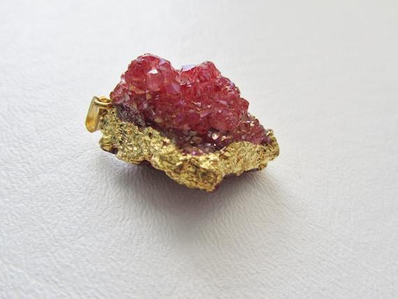 Mystic Raspberry Drusy Quartz Crystal Nugget Gold Leafed Pendant