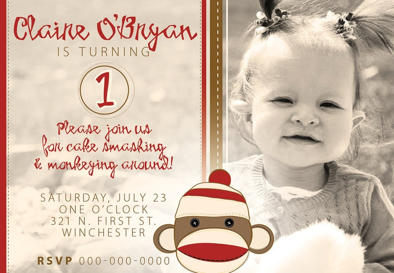 Print Your Own - Sock Monkey birthday invitation 2