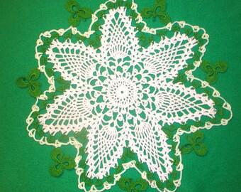 St. Patricks Day Shamrock Doily
