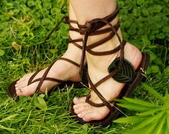 Unisex Maori Sandal With Ankle Leaf Tab / Handmade Leather Adjustable Women Men Lace Up Sandals Renaissance  Minimalist Simple Light Durable