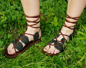 Leaf Sandals / Handmade Leather Lace Up Sandals Unisex Gladiator Forest Nature Leaves Fairy Faerie Pixie